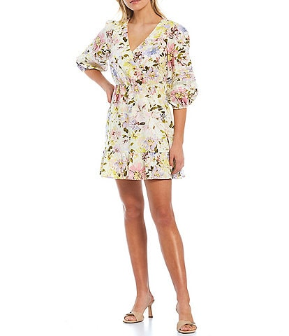 Sanctuary Picture Perfect Short Puff Sleeve V-Neck A-Line Dress