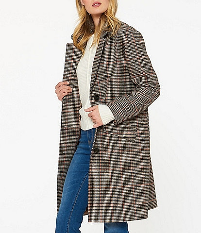 Sanctuary Plaid Wool Blend Houndstooth Single Breasted Car Coat