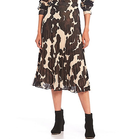 Sanctuary Pony Print Pleat-It Midi Skirt