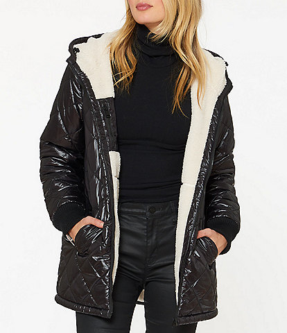 Sanctuary Reversable Hooded Faux Sherpa Quilted Coat