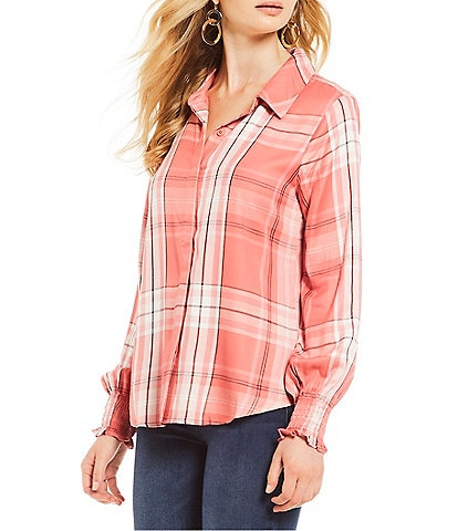 Sanctuary Riverside Plaid Smocked Poet Sleeve Button Front Shirt
