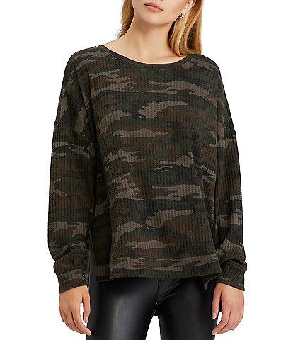 Sanctuary Round Neck Long Sleeve Waffle Knit Camo Print High-Low Slow Time Tunic