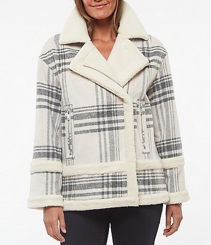 Sanctuary Sherpa Notch Collar Plaid Biker Coat