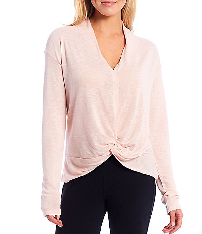 Sanctuary Soft Knit Deep V-Neck Long Sleeve Knot Front Interested Top