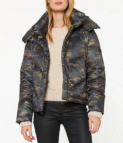 Sanctuary Stretch Down Camouflage Print Detachable Hood Puffer Coat