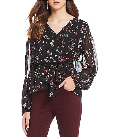Sanctuary Surrey Floral Print Blouson Sleeve Wrap Top