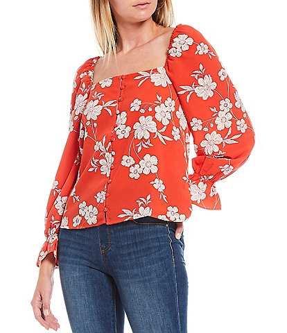 Sanctuary Trendy Floral Print Square Neck Picnic Top