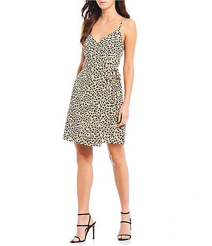 Sanctuary Wrap It Up Faux Wrap Spaghetti Strap Cheetah Print Dress