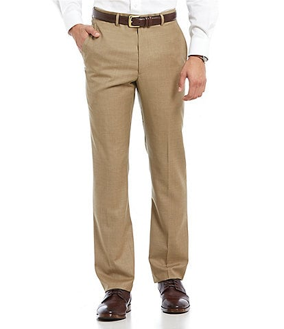 Santorelli Luxury Modern-Fit Flat Front Wool Dress Pants