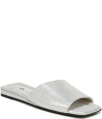 Sarto by Franco Sarto Bordo Metallic Leather Mini Wedge Sqaure Toe Slides