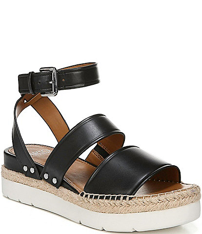 Sarto by Franco Sarto Calvin Leather Espadrille Platform Wedge Sandals