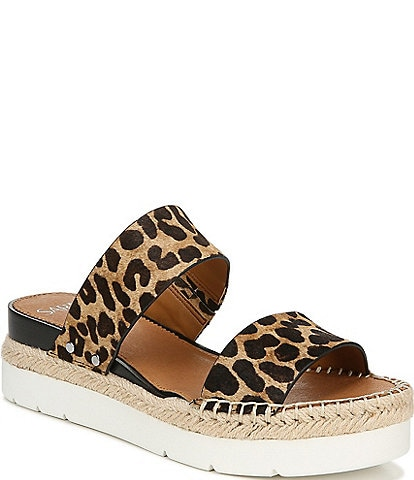 Sarto By Franco Sarto Cappy Leopard Print Calf Hair Platform Slide Sandals