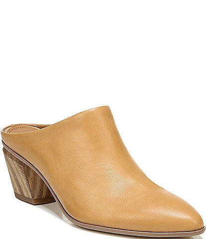 Sarto By Franco Sarto Kirsten Leather Wood Block Heel Mules