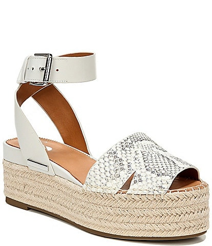 Sarto by Franco Sarto Lexie Snake Print Leather Espadrille Platform Sandals