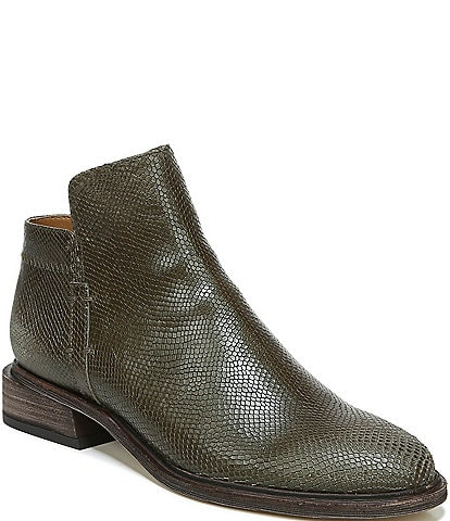 Sarto by Franco Sarto Napoli Lizard Embossed Leather Block Heel Ankle Booties