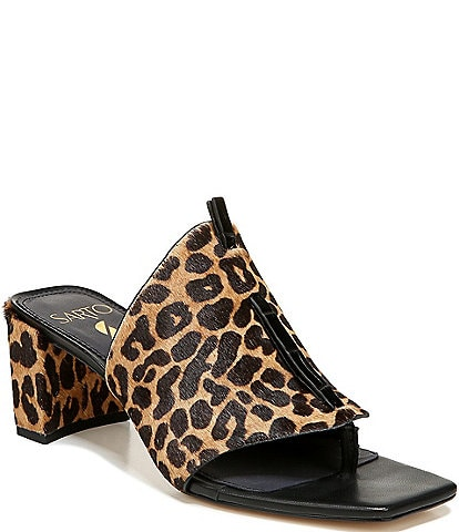 Sarto by Franco Sarto Nina Leopard Print Calf Hair Square Toe Thong Slides