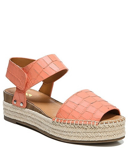 Sarto by Franco Sarto Oak Croco Print Leather Espadrille Wedge Sandals