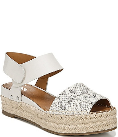 Sarto By Franco Sarto Oak Snake Embossed Leather Espadrille Sandals