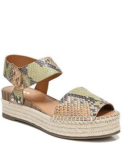Sarto by Franco Sarto Oak Snake Print Leather Espadrille Sandals