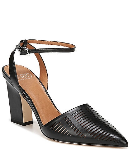 Sarto by Franco Sarto Starla Leather Ankle Strap Block Heel Pumps