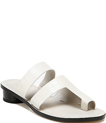 Sarto By Franco Sarto Trixie Croc Embossed Leather Block Heel Toe Ring Sandals