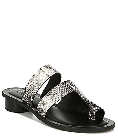 Sarto by Franco Sarto Trixie Snake Print Leather Toe Ring Slide Sandals