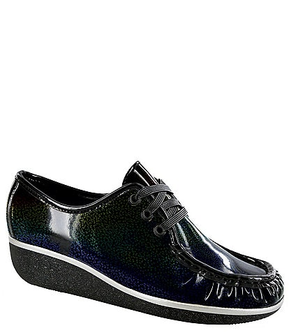 SAS Bounce Patent Leather Lace Up Wedge Mocs