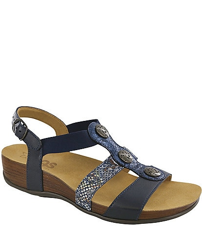 SAS Clover Snake Print Accent Leather Sandals