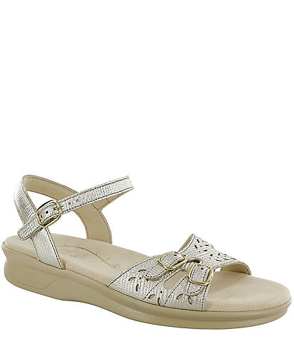 SAS Duo Linen Print Metallic Leather Sandals