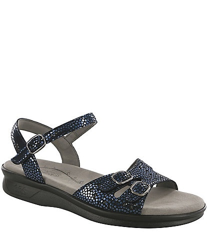 SAS Duo Shiny Dot Print Leather Sandals