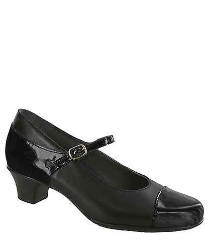 Sas Isabel Leather Block Heel Mary Jane Pumps