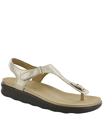 SAS Marina Metallic Leather Thong Sandals