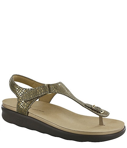 SAS Marina Snake Print Leather Thong Sandals