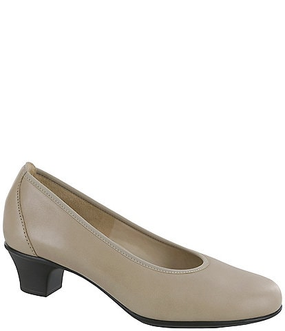 SAS Milano Leather Block Heel Pumps