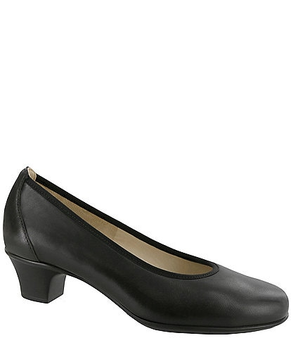 SAS Milano Leather Block Heel Pump