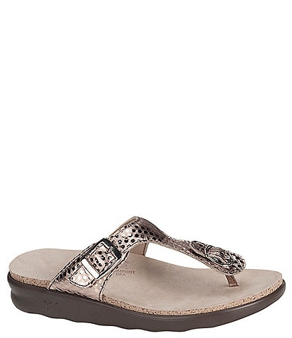 SAS Sanibel Dot Print Metallic Leather Thong Sandals