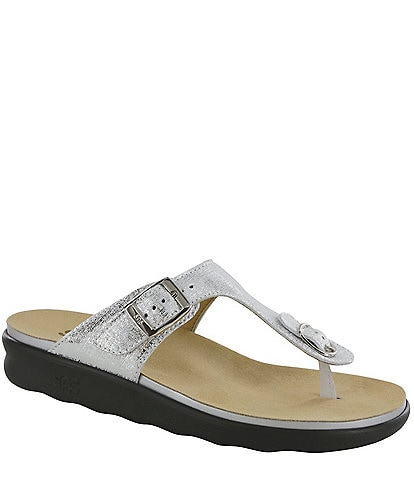 SAS Sanibel Metallic Leather Print Thong Sandals