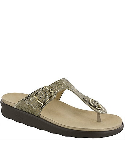 SAS Sanibel Snake Print Leather Thong Sandals