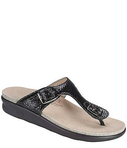 SAS Sanibel Snake Print Leather Thong Wedge Sandals