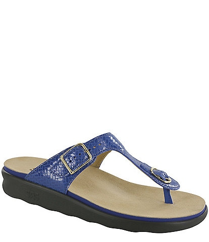SAS Sanibel Weave Print Leather Thong Sandals