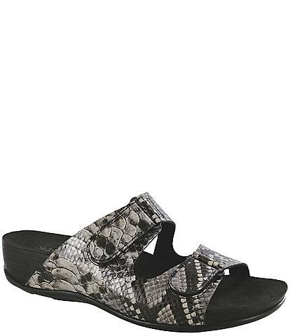 SAS Seaside Snake Print Leather Slide Sandals