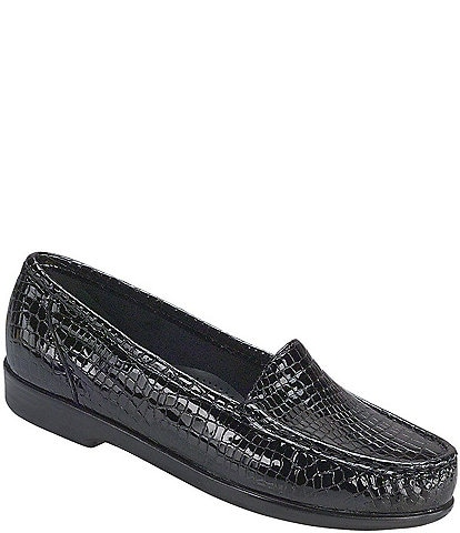 SAS Simplify Croco Print Leather Moccasin Loafers