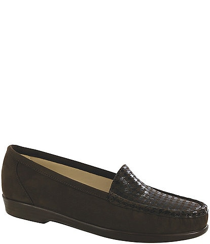 SAS Simplify Suede & Leather Block Heel Loafers