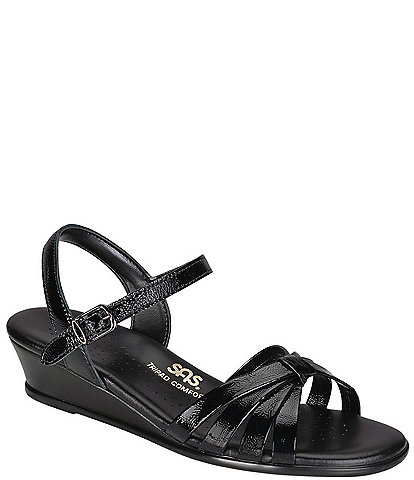 SAS Strippy-patent Wedge Sandal