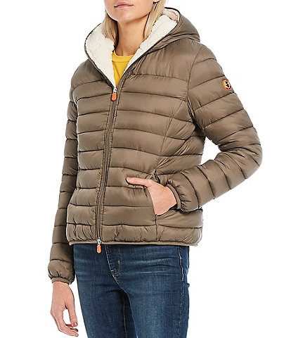 Save the Duck Giga Faux Sherpa Hooded Puffer Coat