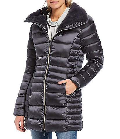 Save the Duck Irisy Synthetic Down Quilted Long Parka with Faux Fur Lined Collar