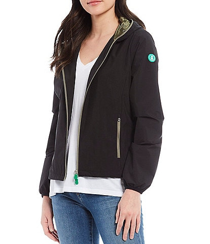 Save the Duck Stella Packable Long Sleeve Hooded Rain Jacket