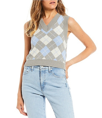 Say What Argyle Print Cropped Sweater Vest Top