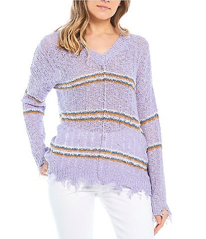 Say What Distressed Stripe Lightweight Sweater