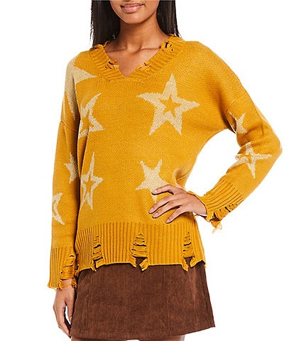 Say What Lurex Star Distressed Long Sleeve Sweater